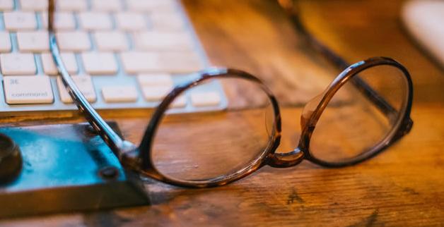 eyeglasses on desk